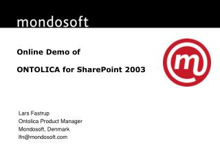 Online Demo of ONTOLICA for SharePoint 2003