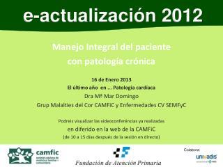 Manejo Integral del paciente  con patología crónica  16 de Enero 2013