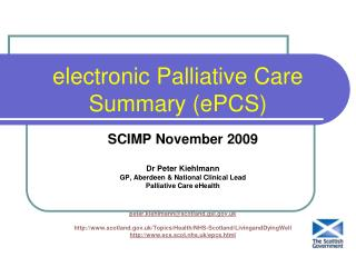 electronic Palliative Care Summary ePCS