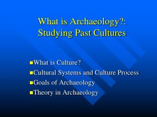 What is Archaeology?: Studying Past Cultures