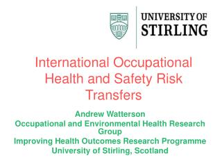 International Occupational Health and Safety Risk Transfers