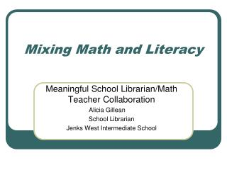 Mixing Math and Literacy