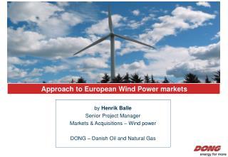 Approach to European Wind Power markets