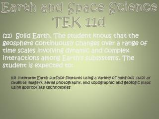Earth and Space Science TEK 11d