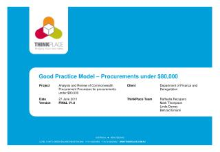 Good Practice Model   Procurements under 80,000
