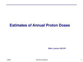 Estimates of Annual Proton Doses