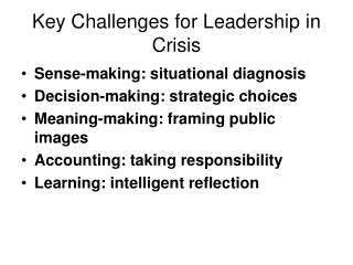 Key Challenges for Leadership in Crisis
