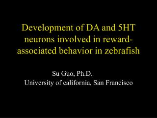 Development of DA and 5HT neurons involved in reward-associated behavior in zebrafish