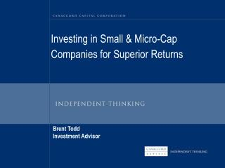 Investing in Small & Micro-Cap Companies for Superior Returns