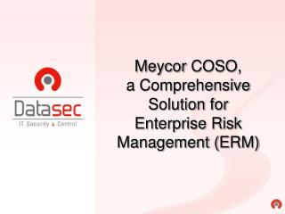 Meycor COSO , a Comprehensive Solution for  Enterprise Risk Management ( ERM )