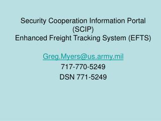 Security Cooperation Information Portal SCIP Enhanced Freight Tracking System EFTS