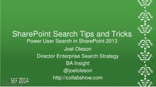 SharePoint Search  Tips and Tricks Power User Search in SharePoint 2013