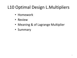 L10 Optimal Design L.Multipliers