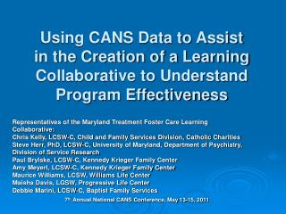 Representatives of the Maryland Treatment Foster Care Learning Collaborative: