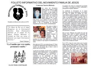 FOLLETO INFORMATIVO DEL MOVIMIENTO FAMILIA DE JESÚS