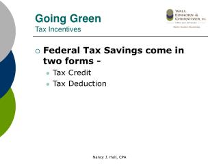 Going Green Tax Incentives