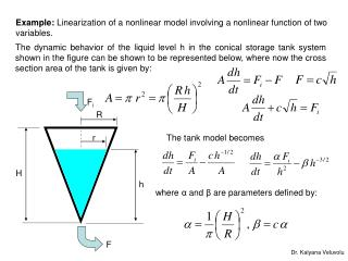 Example:  Linearization of a nonlinear model involving a nonlinear function of two variables.