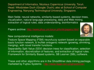Current projects of the Department of Informatics, Nicolaus  Copernicus University ,  Toru ń .