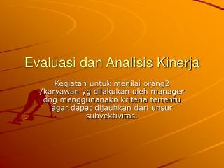 Evaluasi dan Analisis Kinerja