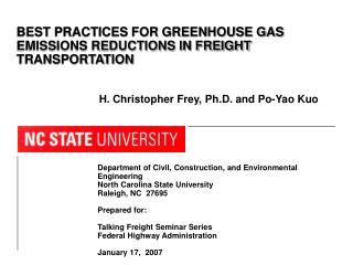 Department of Civil, Construction, and Environmental Engineering North Carolina State University