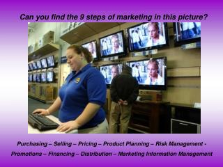 Can you find the 9 steps of marketing in this picture?