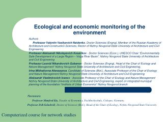 Ecological and economic monitoring of the environment