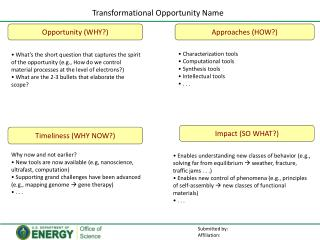 Transformational  Opportunity Name
