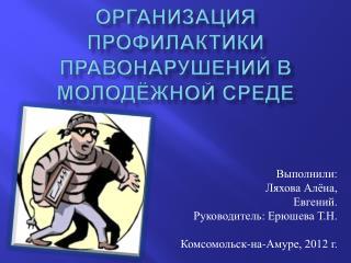 Организация профилактики правонарушений в молодёжной среде
