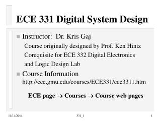 ECE 331 Digital System Design