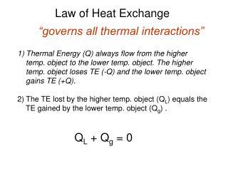 Law of Heat Exchange