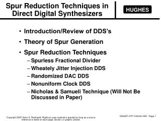 Spur Reduction Techniques in Direct Digital Synthesizers