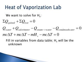 Heat of Vaporization Lab