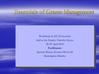 Essentials of Grants Management