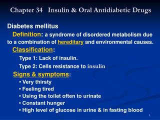 Chapter 34   Insulin  Oral Antidiabetic Drugs