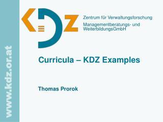 Curricula – KDZ Examples