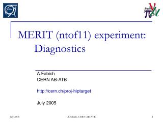 MERIT (ntof11) experiment: 	Diagnostics