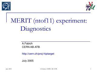 MERIT (ntof11) experiment: Diagnostics