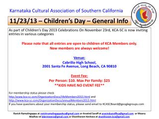 11/23/13 – Children's Day – General Info