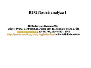 RTG fázová analýza I