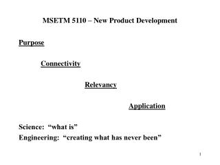 MSETM 5110   New Product Development