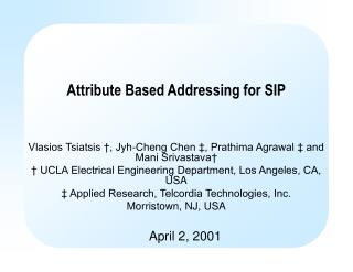 Attribute Based Addressing for SIP