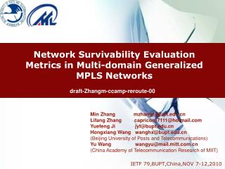 Network Survivability Evaluation Metrics in Multi-domain Generalized MPLS Networks