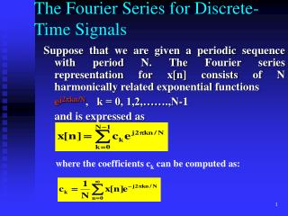 The Fourier Series for Discrete-Time Signals