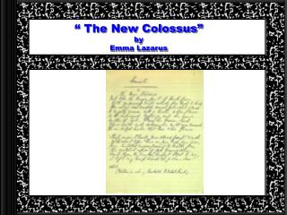 """"""" The New Colossus"""" by  Emma Lazarus"""