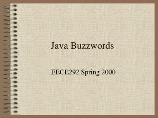 Java Buzzwords