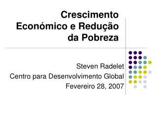 Crescimento Económico e Redução da Pobreza