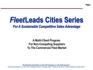 Fleet Leads Cities Series  For A Sustainable Competitive Sales Advantage