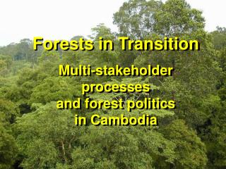 Forests in Transition Multi-stakeholder processes  and forest politics  in Cambodia