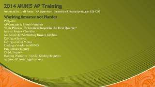 2014 MUNIS AP Training