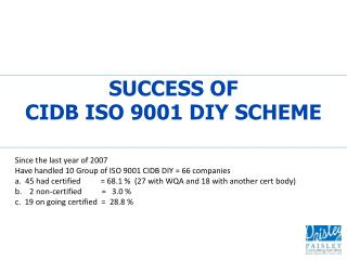SUCCESS OF  CIDB ISO 9001 DIY SCHEME